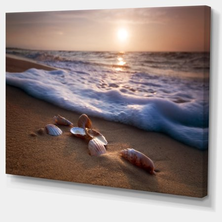 Waves Approaching Seashells on Sand - Beach Photo Canvas Print - image 2 de 3