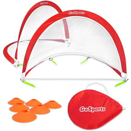 Soccer Trainer Goal (GoSports 4' Foldable Pop-Up Soccer Goal Set of 2 w/ 6 Training Cones and Portable Carrying)