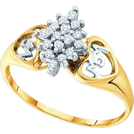 Round Gold Pave Ring (10K Yellow Gold 0.15ctw Shiny Pave Round Diamond Mom & Cluster Marquise)
