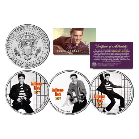 ELVIS PRESLEY *Jailhouse Rock* Colorized JFK Half Dollar US 3-Coin Set LICENSED Olympic Coin Sets