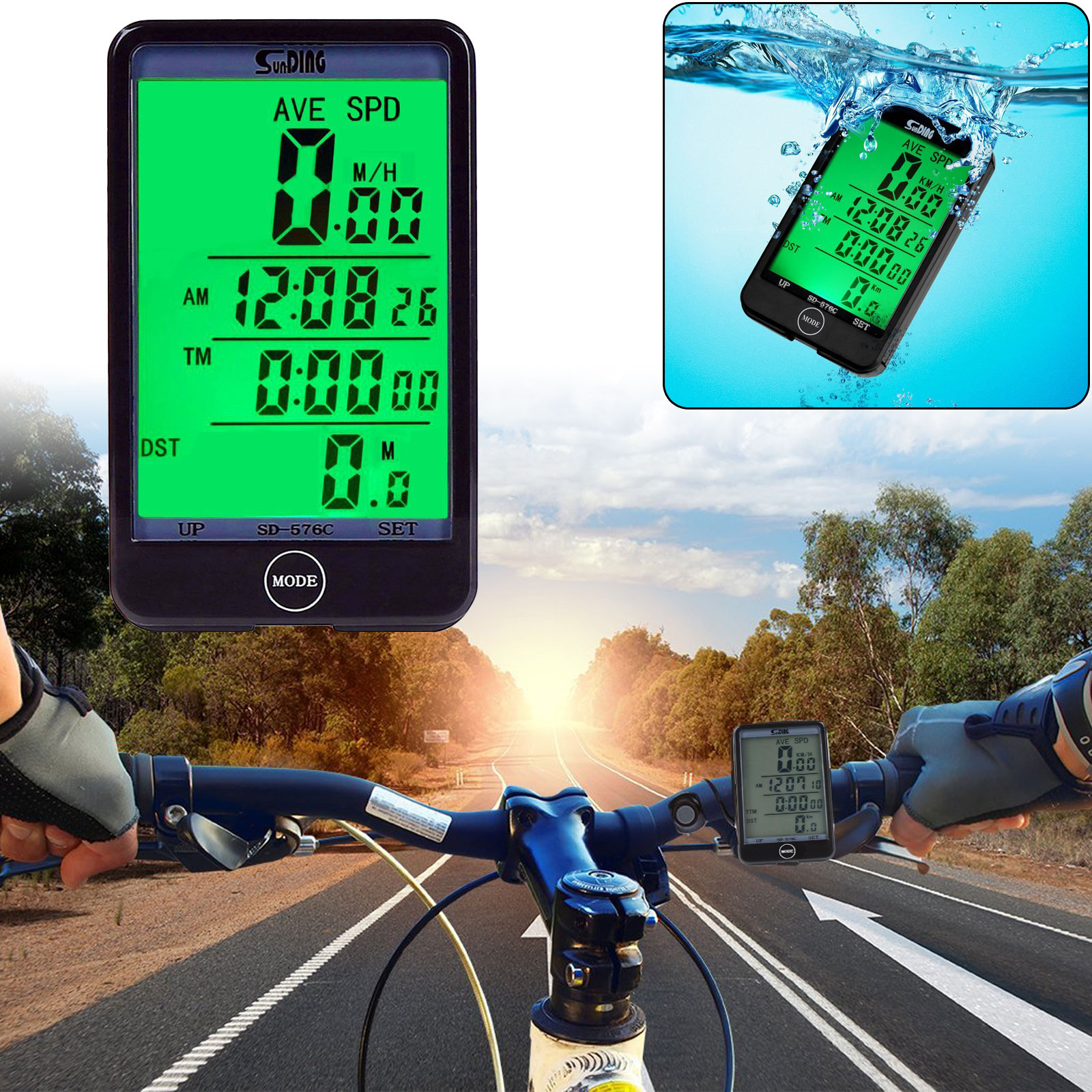 EEEKit Waterproof Bicycle Computer Multifunctional Stopwatch Odometer Speedometer Bike Cyclometers LCD Screen