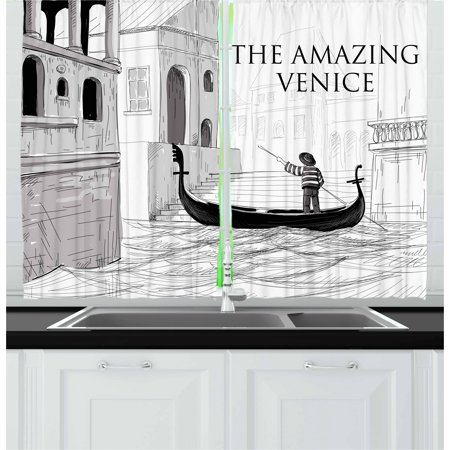 European Living Room - Venice Curtains 2 Panels Set, Canals of Venice Child Gondolier on Water Historical Amazing European City Sketch, Window Drapes for Living Room Bedroom, 55W X 39L Inches, Black White, by Ambesonne
