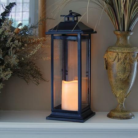 Black Led Halloween Candles (Lumabase Metal Lantern with LED Candle- Black)