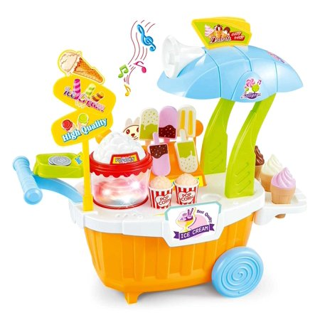 Super Market Sweet Shop Portable | Ice Cream Cart Playset | 43 Pieces | Blue (Portable Ice Cream Cart)