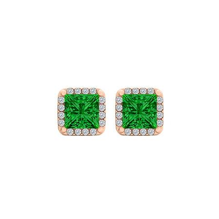 Emerald CZ Square Halo Stud Earrings in 14K Rose Gold - image 2 de 2
