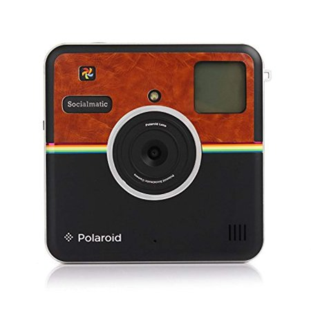 Polaroid Custom Designed Front Sticker for Polaroid Socialmatic - Matte Brown Leather Look Custom Leather Designs