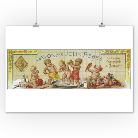 Savon Des Jolis Bebes Soap Label (9x12 Art Print, Wall Decor Travel Poster) Campbells Soup Label