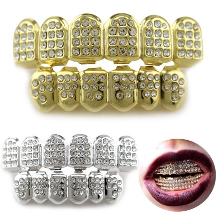 14K Gold/Silver Teeth Grillz Top Bottom Iced Out CZ Hip Hop Tooth Cap Grill Set - Fake Teeth Grillz