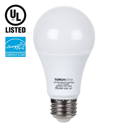 TORCHSTAR 9.5W Dimmable A19 LED Light Bulb, 60W Incandescent Equivalent, 5000K Daylight, 800lm, E26 Base, UL & ENERGY STAR, 3 YEARS