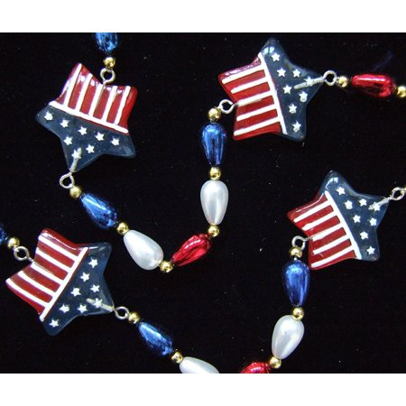 USA Flag Patriot Stars Mardi Gras Beads Mardi Gras Beads New Orleans Bayou Lousianna Cajun Creole Party, Genuine Specialty Mardi Gras Theme Beads- By Mardi Gras World - Mardi Gras Float Themes