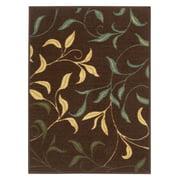 """Ottomanson Classics Collection Leaves Design Non-Slip Accent Rug, 2'3"""" X 3', Brown"""
