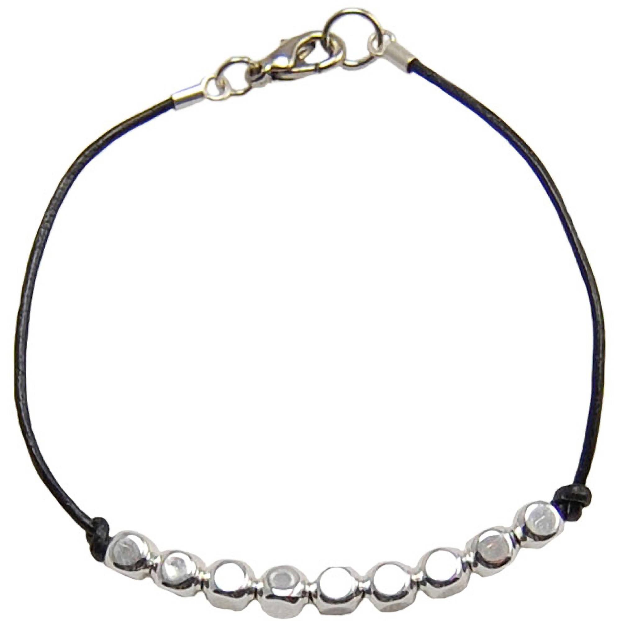 Miss Zoe by Calinana Dot Leather Bracelet, Black/Silver