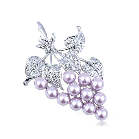 Grape Brooch Pin (Crystal Elements A Bunch of Lavender Faux Pearl Bead Grapes Pin Brooch )