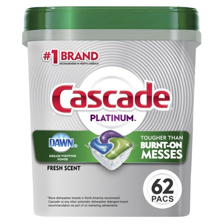 Cascade Platinum ActionPacs, Dishwasher Detergent, Fresh, 62