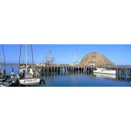 boat landing and morro rock at morro bay california canvas. Black Bedroom Furniture Sets. Home Design Ideas