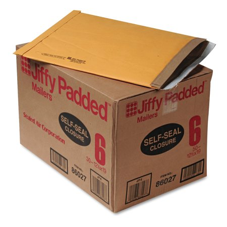 - Sealed Air Jiffy Padded Self Seal Mailer, #6, 12 1/2 x 19, Natural Kraft, 50/CT