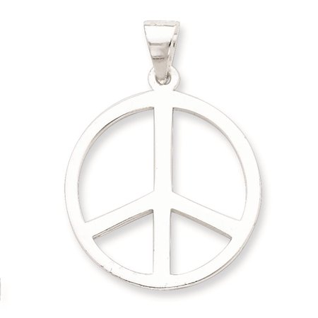 925 Sterling Silver Polished Peace Symbol Charm Pendant 33mm x 24mm