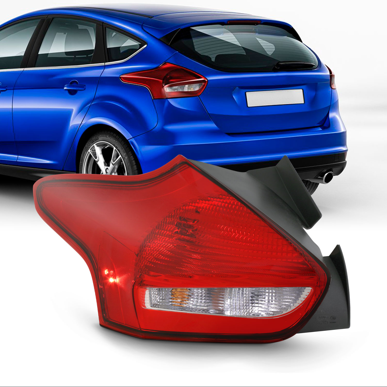 Rear Bumper Reflector Compatible with 2015-2018 Ford Focus Driver Side