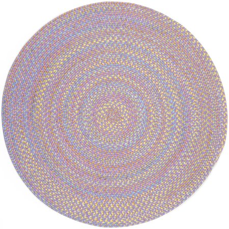 Purple Rug Braided Design 10 Foot Round Soft Kids Nursery