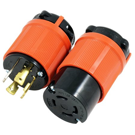 AC WORKS [ASL1430PR] NEMA L14-30 30Amp 125/250Volt 4Prong Locking Male Plug and Female Connector With UL, C-UL Approval -