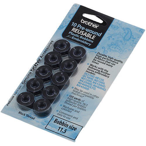 Brother Pre-wound Embroidery Bobbin, 10-Piece, Black