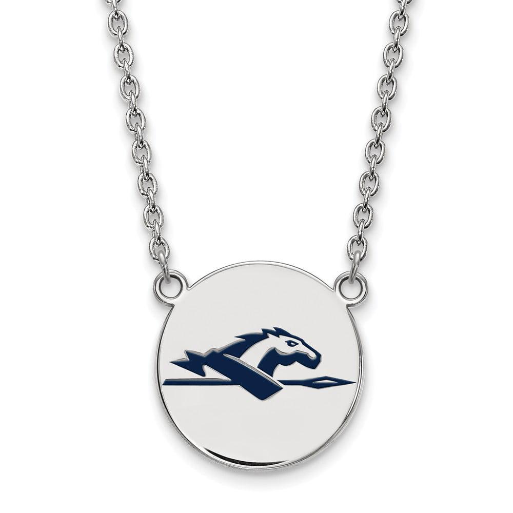 Sterling Silver LogoArt Official Licensed Collegiate 18in Longwood University (LU) Large Enamel Disc Necklace