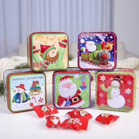 Chrismas Gift Box Candy Box Candle Box Metal Tinplate Empty Tins for DIY Candles,Spices,Tea,Candy,Party Favors and Gifts -Random Pattern ()