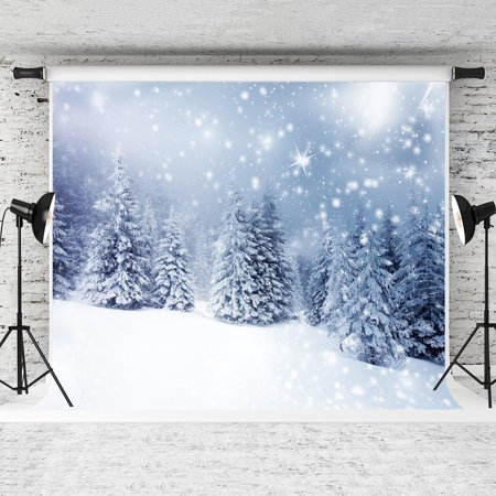 HelloDecor Polyster 7x5ft Winter Outdoor Snow Photography Backdrop Christmas Background for Studio Props - Christmas Backgrounds For Photography