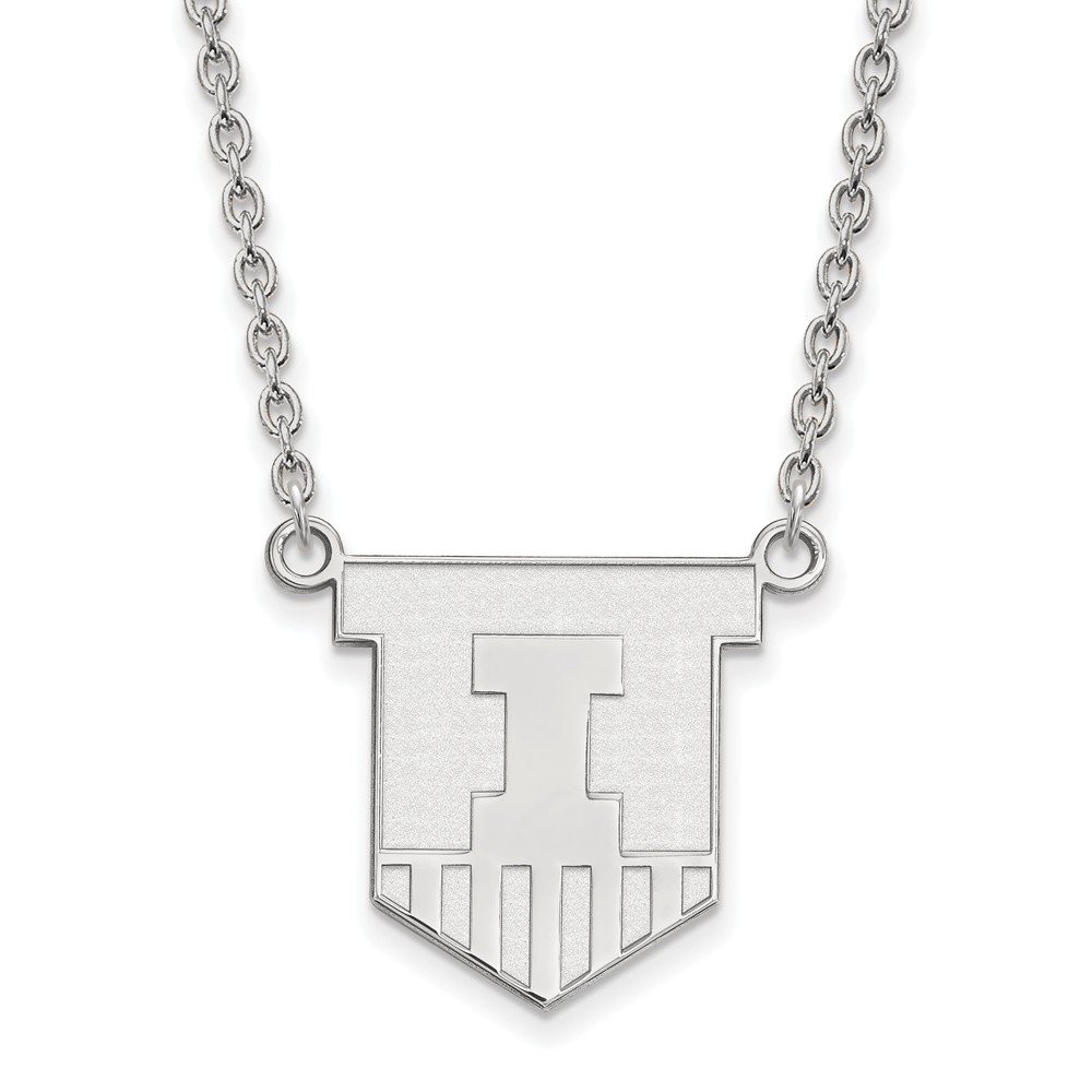 925 Sterling Silver Rhodium-plated Laser-cut University of Illinois Large Pendant