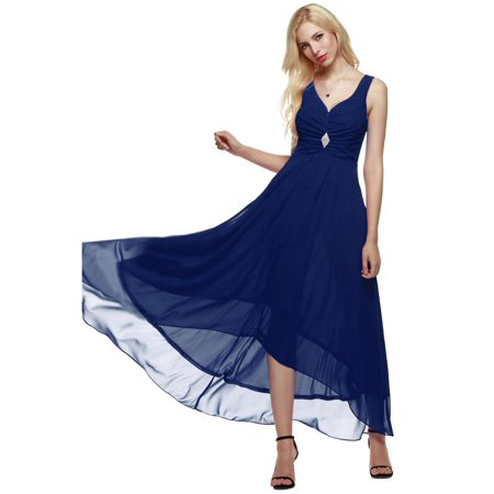 Women Sleeveless Ruched Chiffon Maxi Cocktail Party Evening Fromal Gown Dress HFON (Ruched Evening Cocktail)
