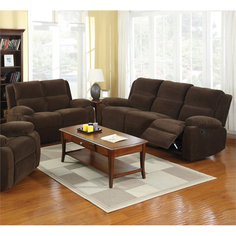 Furniture of America Klichel 2 Piece Sofa Set in Dark Brown