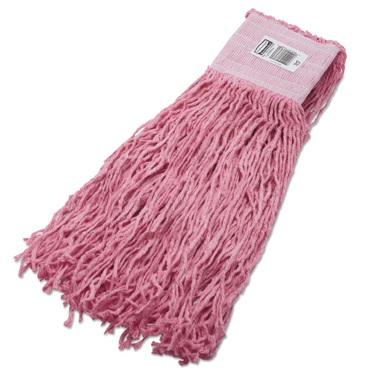 Specialty Synthetic Blend Mop Heads, Cut-End, 24oz, Pink, 6/carton