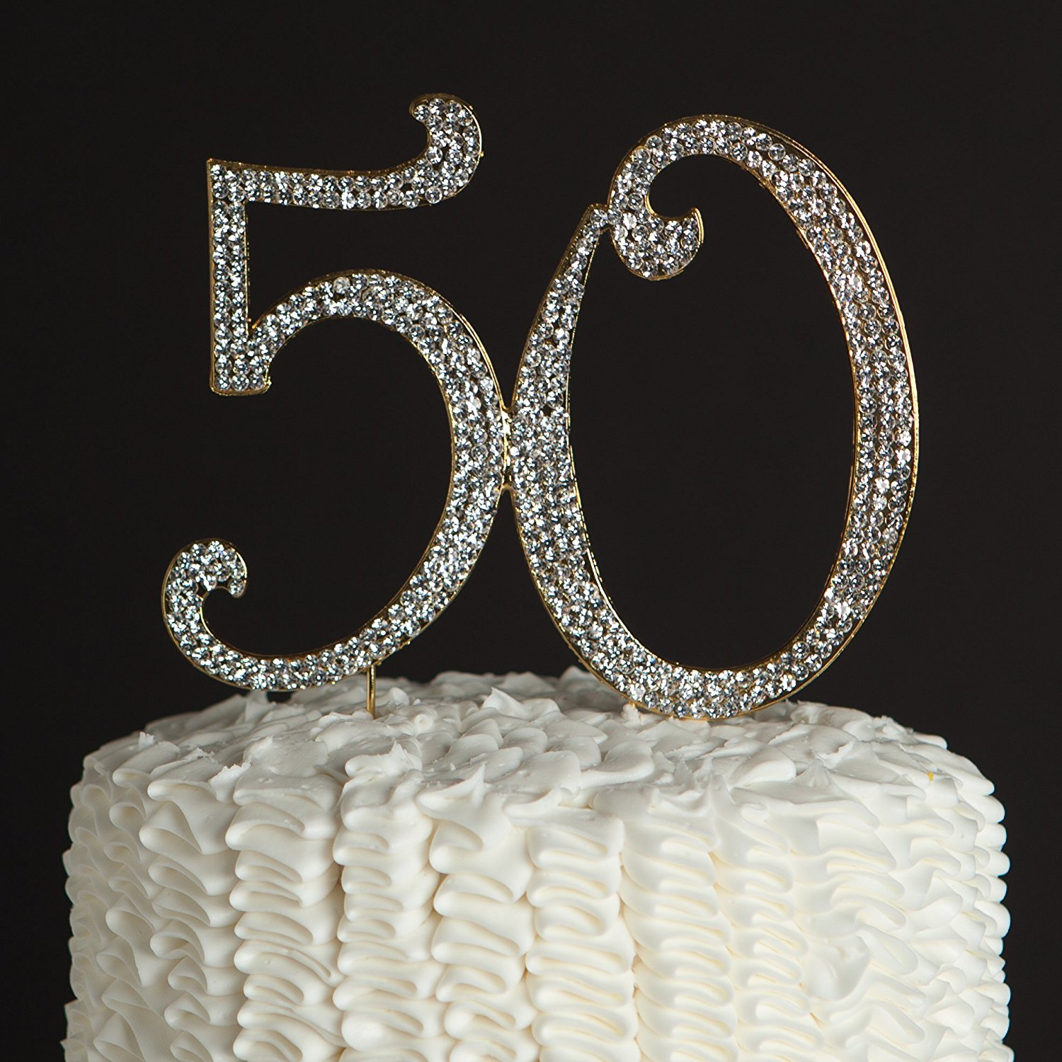 50 Cake Topper for 50th Birthday or Anniversary Party Rhinestone