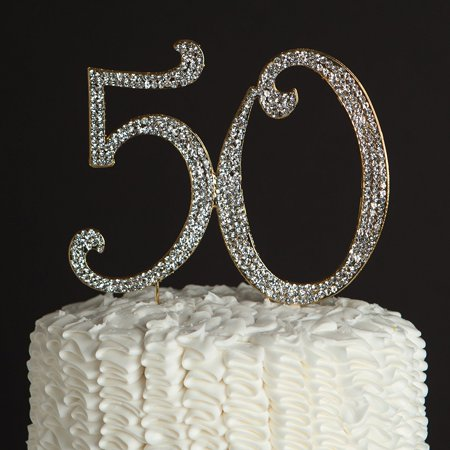 50 cake topper for 50th birthday or anniversary party rhinestone decoration - Gag Gifts 50th Birthday