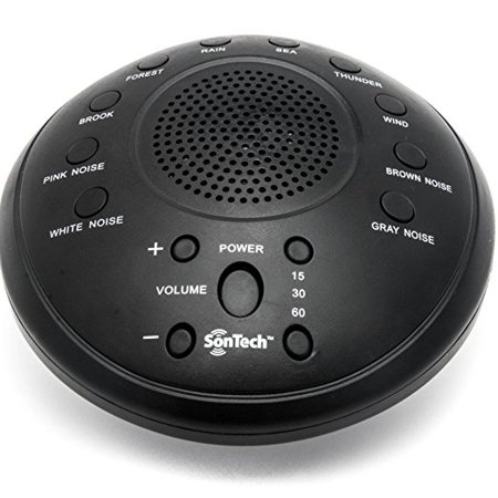 SonTech- White Noise Sound Machine - 10 Natural Soothing Sound Tracks –  Multiple Timer Settings - Battery or Adapter Charging Options