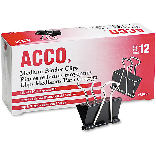 "ACCO Medium Binder Clips, Steel Wire, 5/8"" Cap., 1-1/4""w, Black/Silver, 1 Dozen"