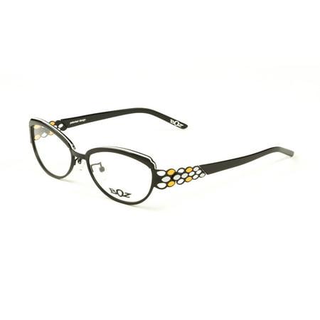 BOZ Women\'s Rumba Cat Eye Eyeglass Frames 54mm Black/White/Orange ...