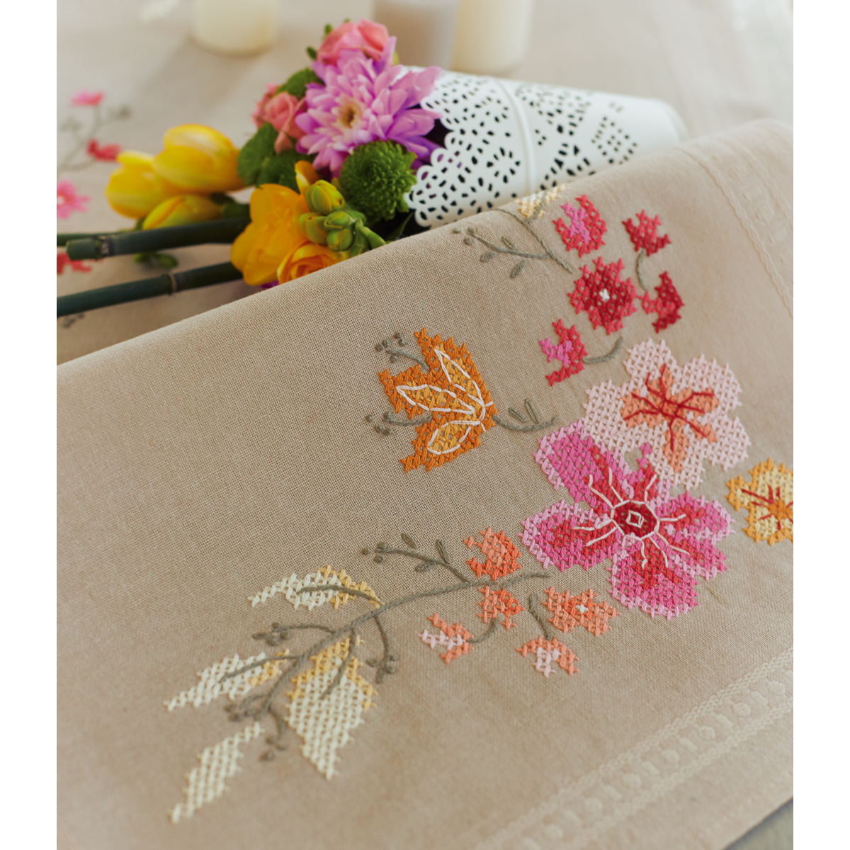 "Pink Flowers Table Runner Stamped Cross Stitch Kit-16""X40"""