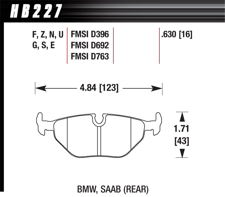 Hawk Street HPS Brake Pads Front /& Rear Set for 95-99 BMW E36 M3