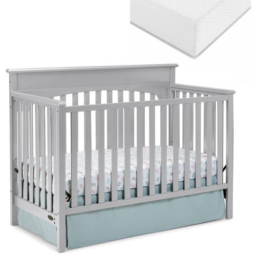 Graco Lauren 4-in-1 Convertible Fixed-Side Crib and Mattress Value Bundle