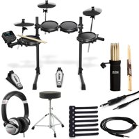 Alesis Turbo Mesh Kit Seven-Piece Electronic Drum Kit with Mesh Heads + Drum Throne + Drumsticks and Holder + DJ Headphones + Cables & Cable Ties