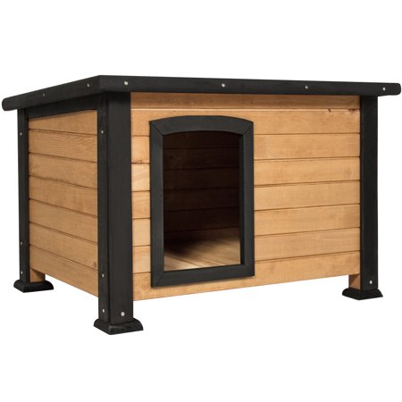 Dog House Blind - Best Choice Products Wooden Log Cabin Dog House w/ Opening Roof for Small Dogs, Outdoor Kennel, Pet Shelter -Brown