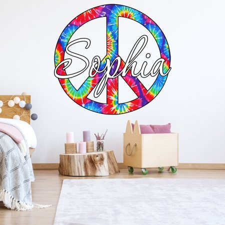 Custom Name Decal Personalized Peace Sign Name Tie Dye Wall Decor - Chrome Peace Sign