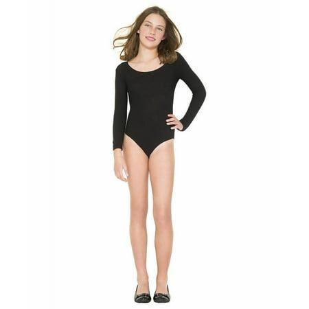 Music Legs Girls Boys Black Nylon Long Sleeve Leotard Unitard Ballet Dance SM-XL - image 1 of 1