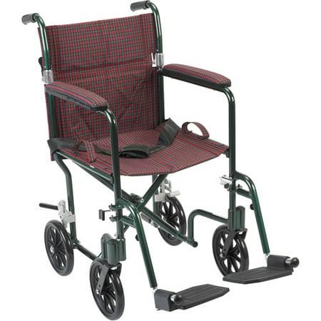 Drive Medical Flyweight Lightweight Folding Transport Wheelchair  17   Green Frame  Burgundy Upholstery