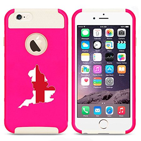For Apple (iPhone 8) Shockproof Impact Hard Soft Case Cover England English Flag (Hot Pink-White)