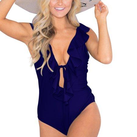 Swimwear Women Monokini Swimsuits Jumpsuit V-neck Flouncing Frill Bodysuit (Monokini Sale)