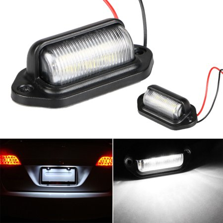 Universal 6 SMD 6 LED Xenon White Light 12V License Plate Tag Lights Interior Door Step Lamp Lamps for Car Truck SUV Trailer Van Vehicle ()