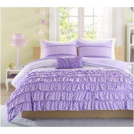 Mizone Girls 4 Piece Comforter Set Purple Fullqueen Girls