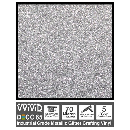 Craft Vinyl Contact Paper | Flake Metallic Glitter Silver 6ft x 1ft Adhesive Vinyl | For Cricut, Silhouette & Cameo Plotters | VViViD DECO65 (Metallic Craft Paper)